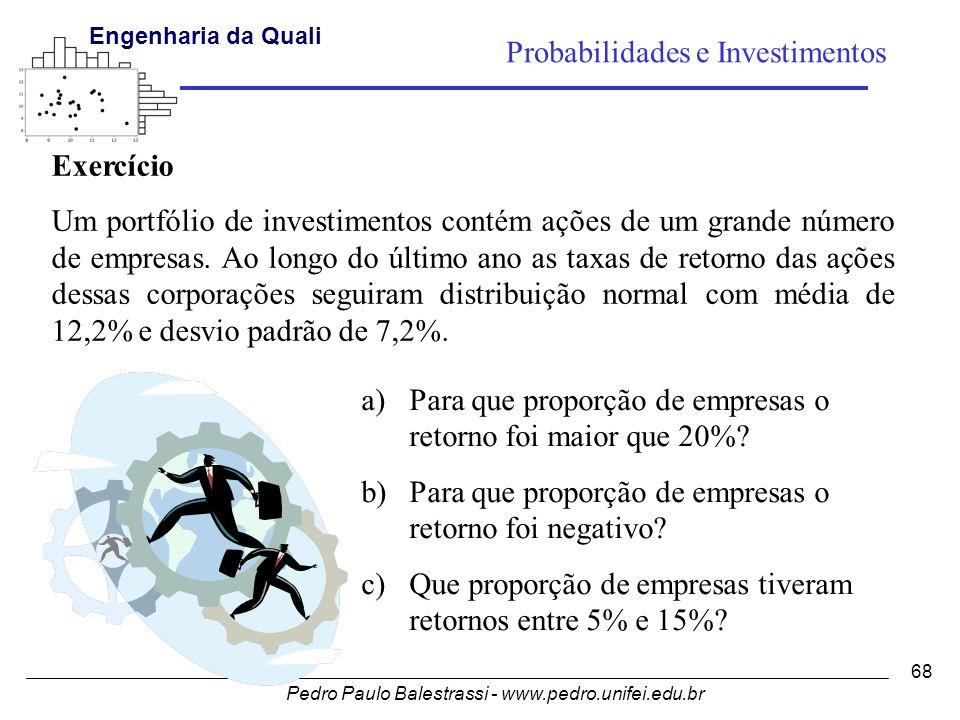 Pedro Paulo Balestrassi - www.pedro.unifei.edu.br Engenharia da Qualidade I 68 Probabilidades e Investimentos Exercício Um portfólio de investimentos contém ações de um grande número de empresas.
