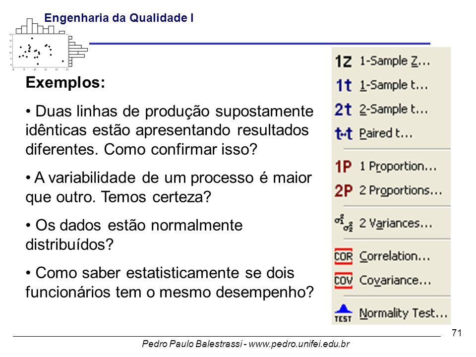 Pedro Paulo Balestrassi - www.pedro.unifei.edu.br Engenharia da Qualidade I 71 Exemplos: • Duas linhas de produção supostamente idênticas estão apresentando resultados diferentes.
