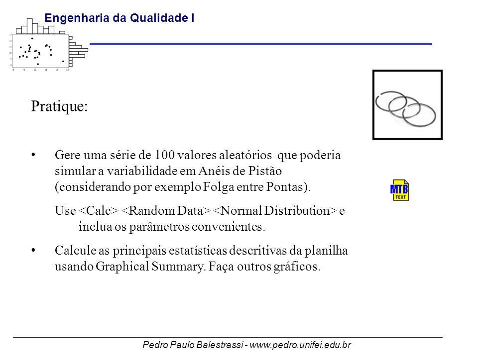 Pedro Paulo Balestrassi - www.pedro.unifei.edu.br Engenharia da Qualidade I 119