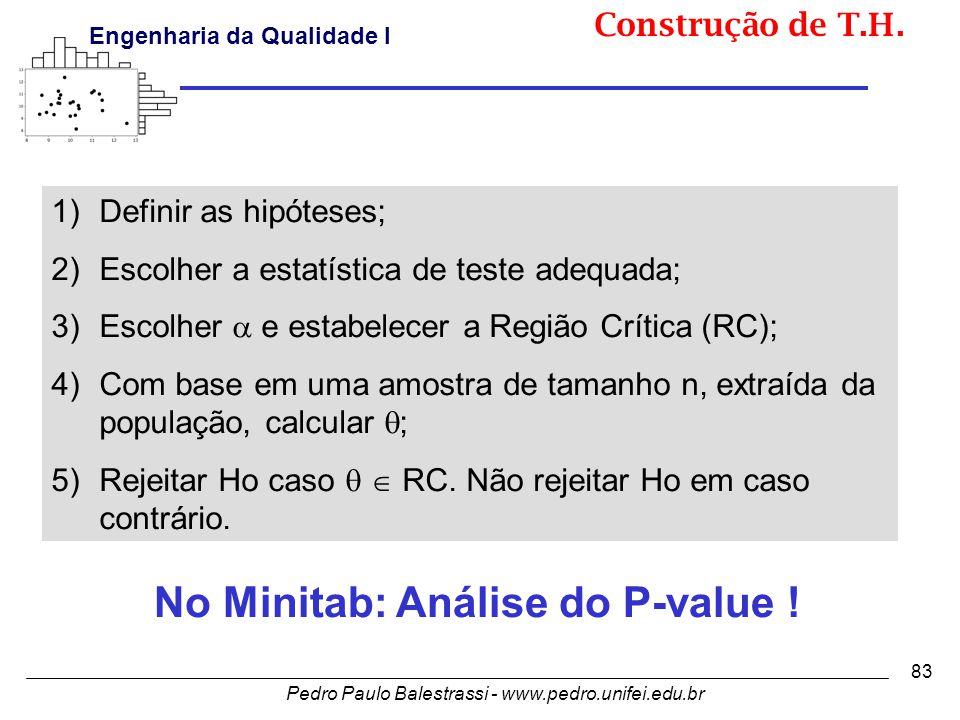 Pedro Paulo Balestrassi - www.pedro.unifei.edu.br Engenharia da Qualidade I 83 No Minitab: Análise do P-value .