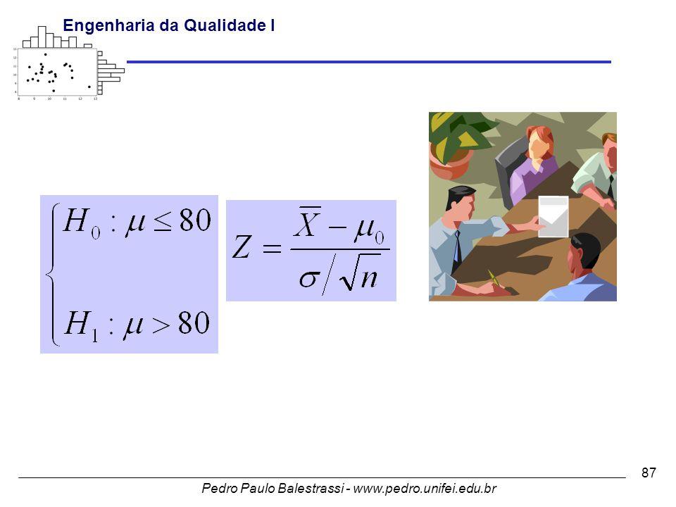 Pedro Paulo Balestrassi - www.pedro.unifei.edu.br Engenharia da Qualidade I 87