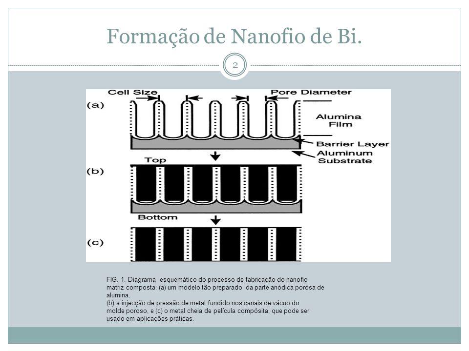 Formação de Nanofio de Bi. FIG. 1. Diagrama esquemático do processo de fabricação do nanofio matriz composta: (a) um modelo tão preparado da parte anó