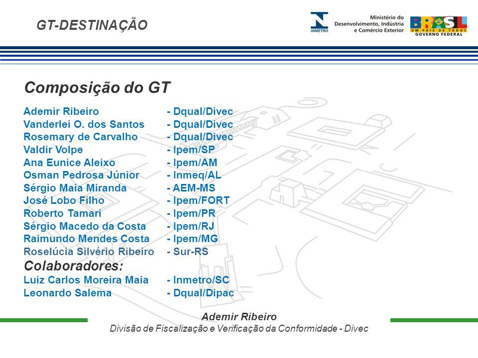 GT-DESTINAÇÃO Composição do GT Ademir Ribeiro - Dqual/Divec Vanderlei O.