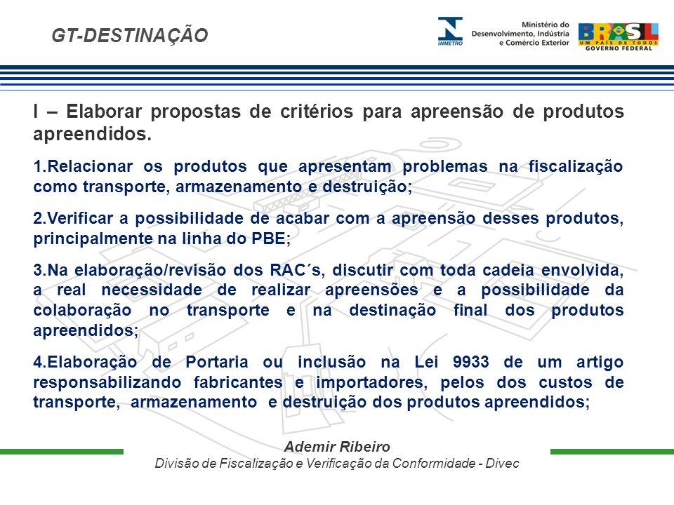 GT-DESTINAÇÃO Ademir Ribeiro Divisão de Fiscalização e Verificação da Conformidade - Divec I – Elaborar propostas de critérios para apreensão de produtos apreendidos.