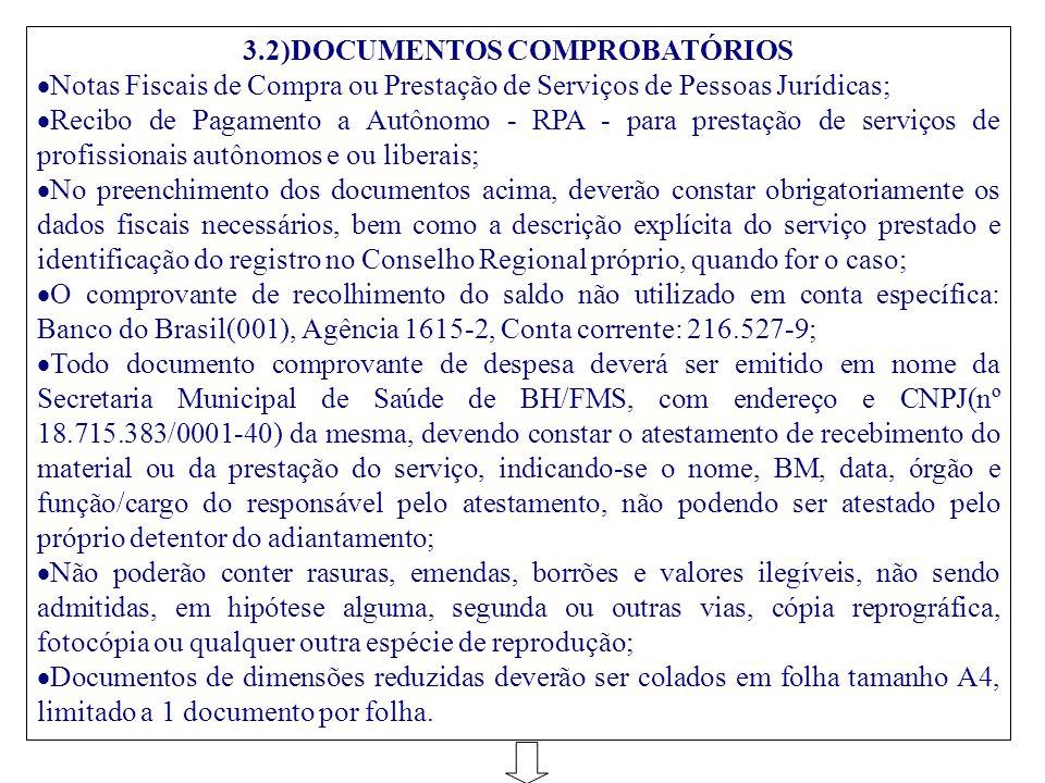 3.2)DOCUMENTOS COMPROBATÓRIOS  Notas Fiscais de Compra ou Prestação de Serviços de Pessoas Jurídicas;  Recibo de Pagamento a Autônomo - RPA - para p