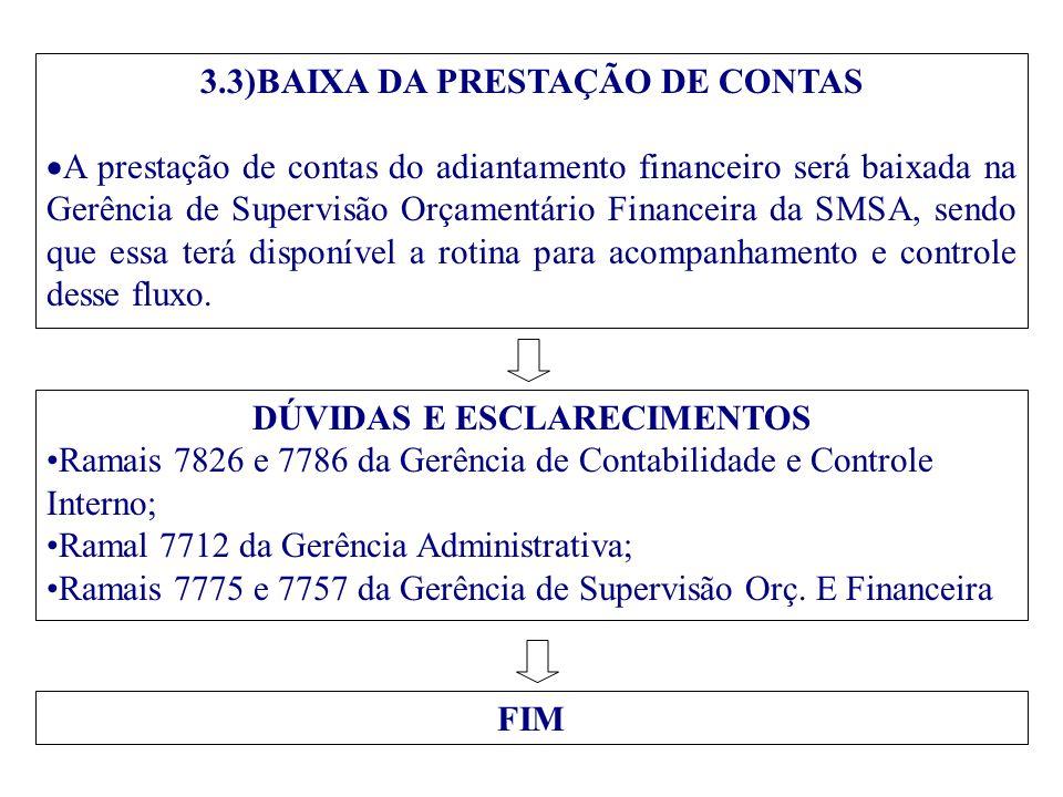 3.3)BAIXA DA PRESTAÇÃO DE CONTAS  A prestação de contas do adiantamento financeiro será baixada na Gerência de Supervisão Orçamentário Financeira da
