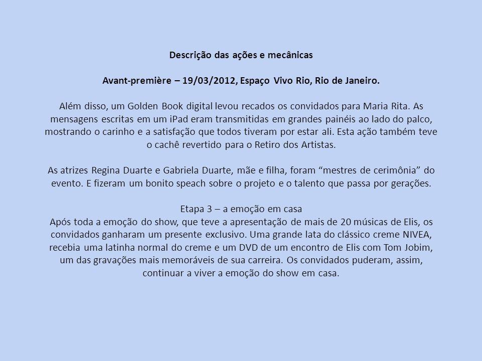Descrição das ações e mecânicas Avant-première – 19/03/2012, Espaço Vivo Rio, Rio de Janeiro. Além disso, um Golden Book digital levou recados os conv
