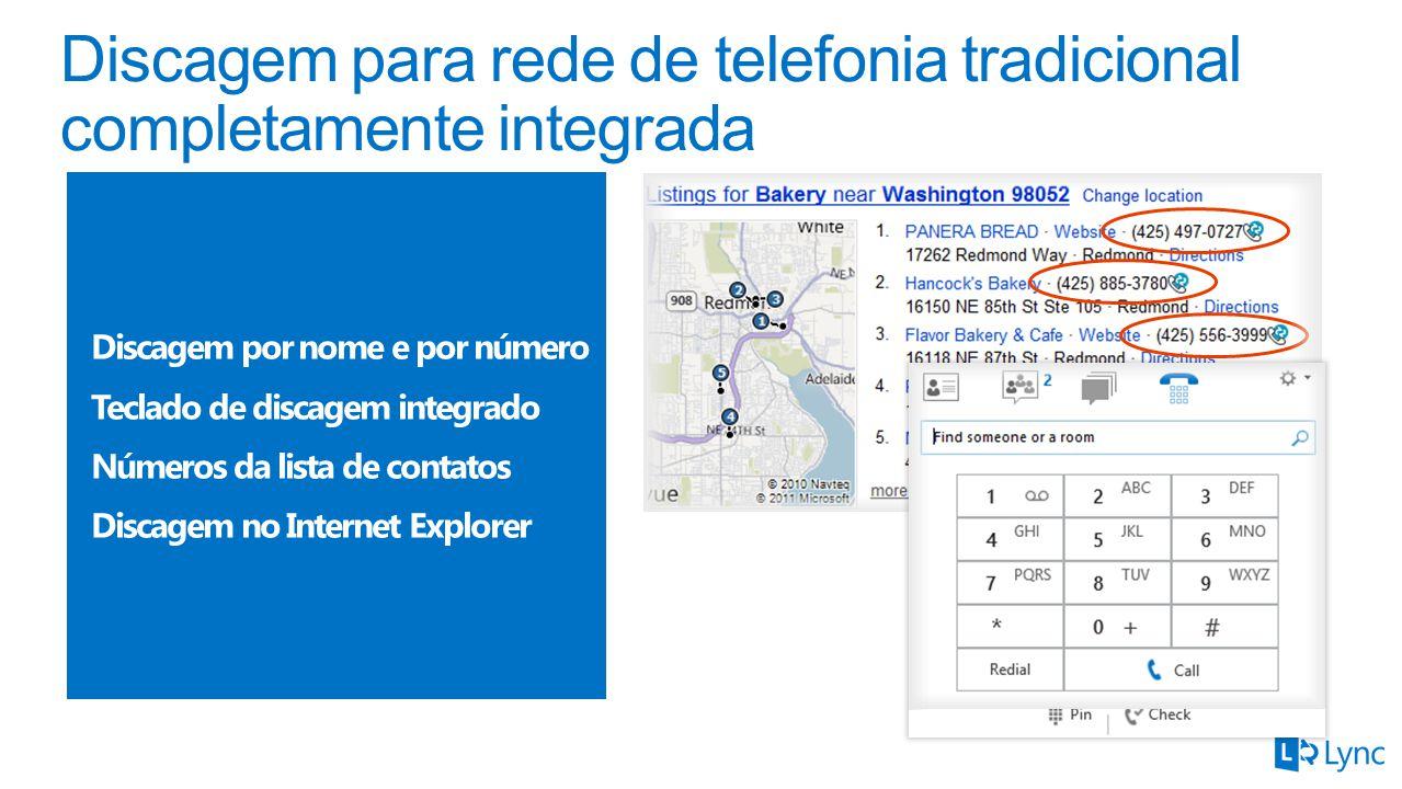 Discagem por nome e por número Teclado de discagem integrado Números da lista de contatos Discagem no Internet Explorer