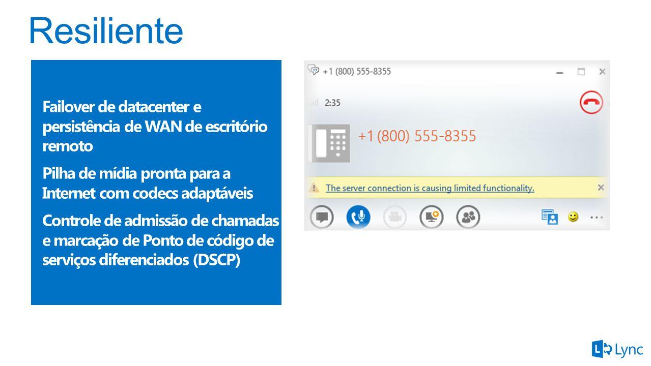 Failover de datacenter e persistência de WAN de escritório remoto Pilha de mídia pronta para a Internet com codecs adaptáveis Controle de admissão de chamadas e marcação de Ponto de código de serviços diferenciados (DSCP)