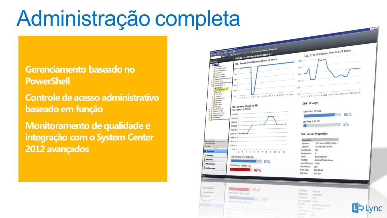Gerenciamento baseado no PowerShell Controle de acesso administrativo baseado em função Monitoramento de qualidade e integração com o System Center 2012 avançados