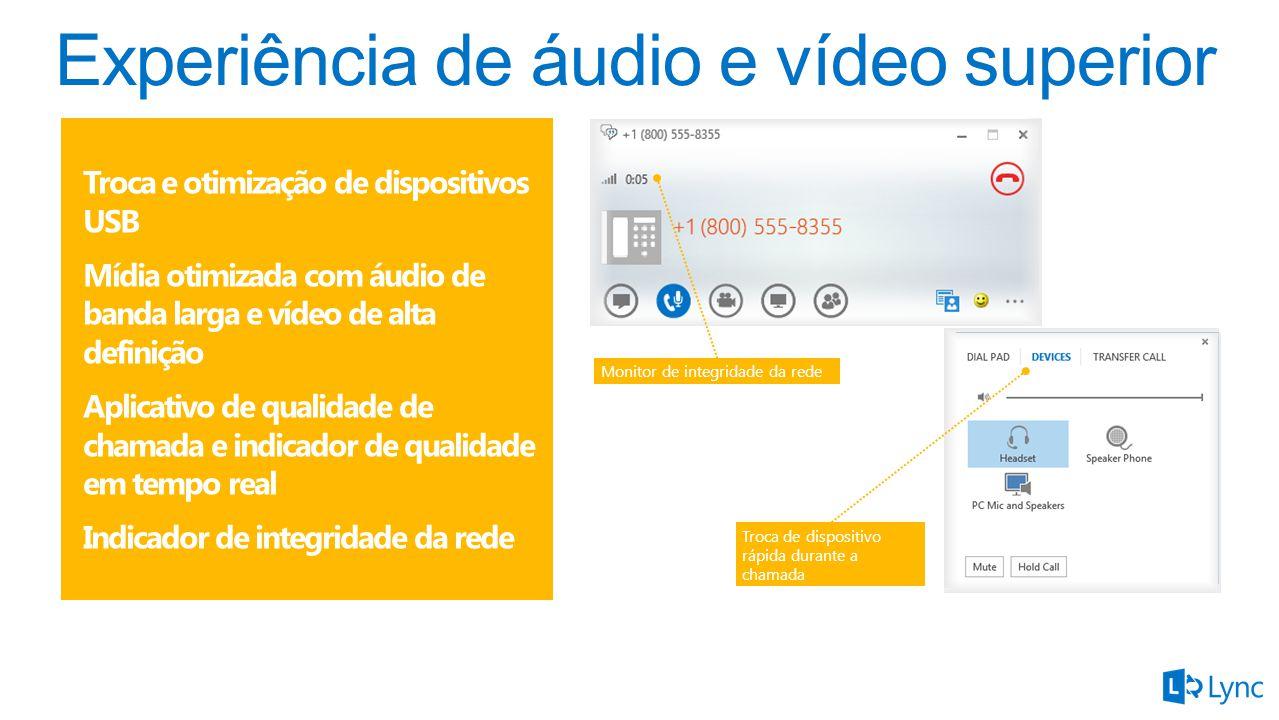 Troca e otimização de dispositivos USB Mídia otimizada com áudio de banda larga e vídeo de alta definição Aplicativo de qualidade de chamada e indicador de qualidade em tempo real Indicador de integridade da rede Monitor de integridade da rede Troca de dispositivo rápida durante a chamada