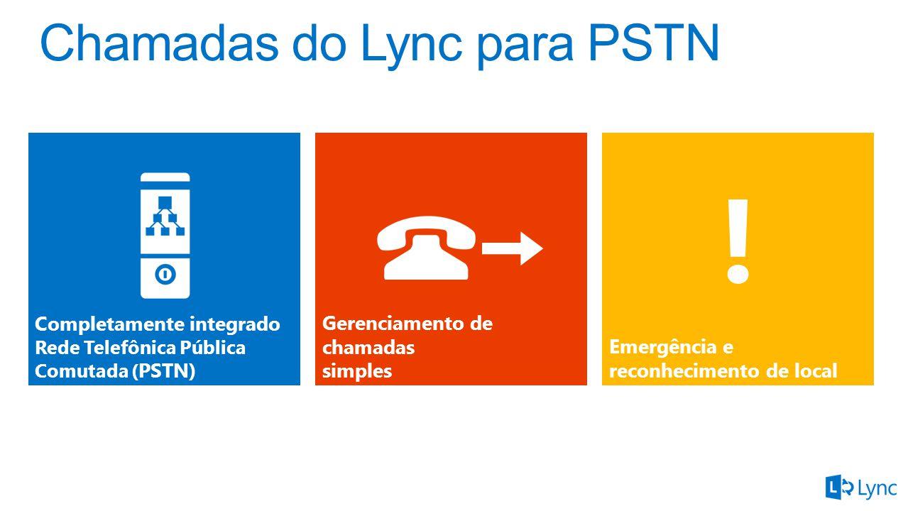 Gerenciamento de chamadas simples Completamente integrado Rede Telefônica Pública Comutada ( PSTN) Emergência e reconhecimento de local !