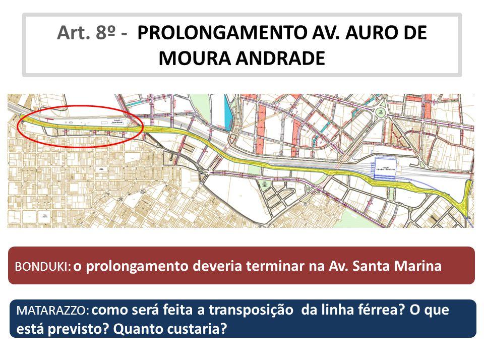 Art. 8º - PROLONGAMENTO AV. AURO DE MOURA ANDRADE BONDUKI: o prolongamento deveria terminar na Av. Santa Marina MATARAZZO: como será feita a transposi