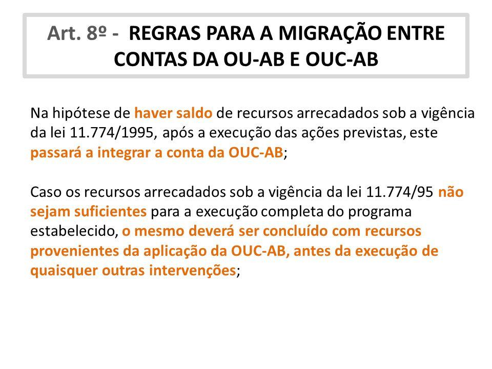 Art. 8º - REGRAS PARA A MIGRAÇÃO ENTRE CONTAS DA OU-AB E OUC-AB Na hipótese de haver saldo de recursos arrecadados sob a vigência da lei 11.774/1995,