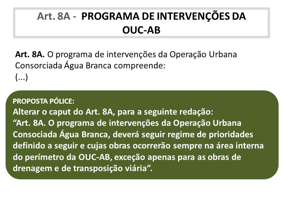 Art. 8A - PROGRAMA DE INTERVENÇÕES DA OUC-AB Art. 8A. O programa de intervenções da Operação Urbana Consorciada Água Branca compreende: (...) PROPOSTA