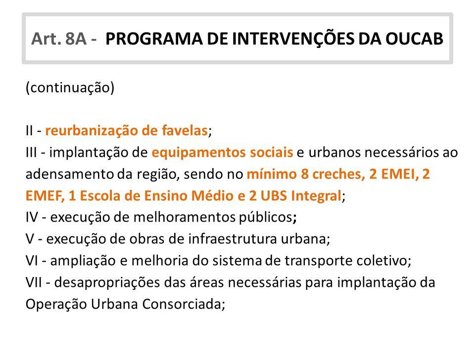 Art. 8A - PROGRAMA DE INTERVENÇÕES DA OUCAB (continuação) II - reurbanização de favelas; III - implantação de equipamentos sociais e urbanos necessári