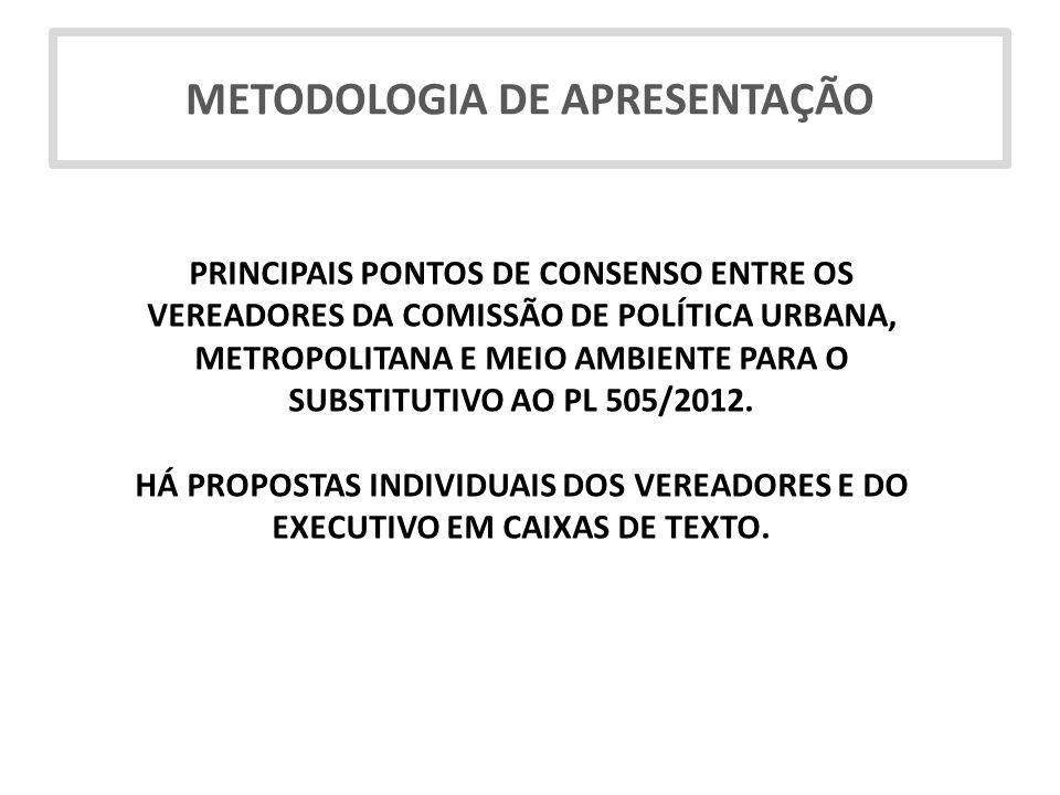 PRINCIPAIS PONTOS DE CONSENSO ENTRE OS VEREADORES DA COMISSÃO DE POLÍTICA URBANA, METROPOLITANA E MEIO AMBIENTE PARA O SUBSTITUTIVO AO PL 505/2012. HÁ