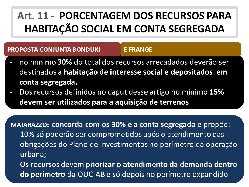 -no mínimo 30% do total dos recursos arrecadados deverão ser destinados a habitação de interesse social e depositados em conta segregada. -Dos recurso