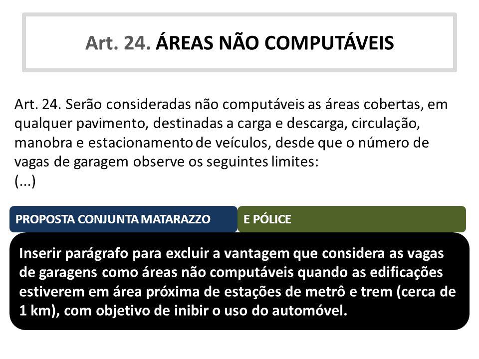 Art. 24. ÁREAS NÃO COMPUTÁVEIS Art. 24. Serão consideradas não computáveis as áreas cobertas, em qualquer pavimento, destinadas a carga e descarga, ci