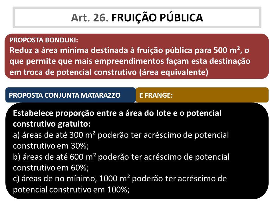 Art. 26. FRUIÇÃO PÚBLICA PROPOSTA BONDUKI: Reduz a área mínima destinada à fruição pública para 500 m², o que permite que mais empreendimentos façam e