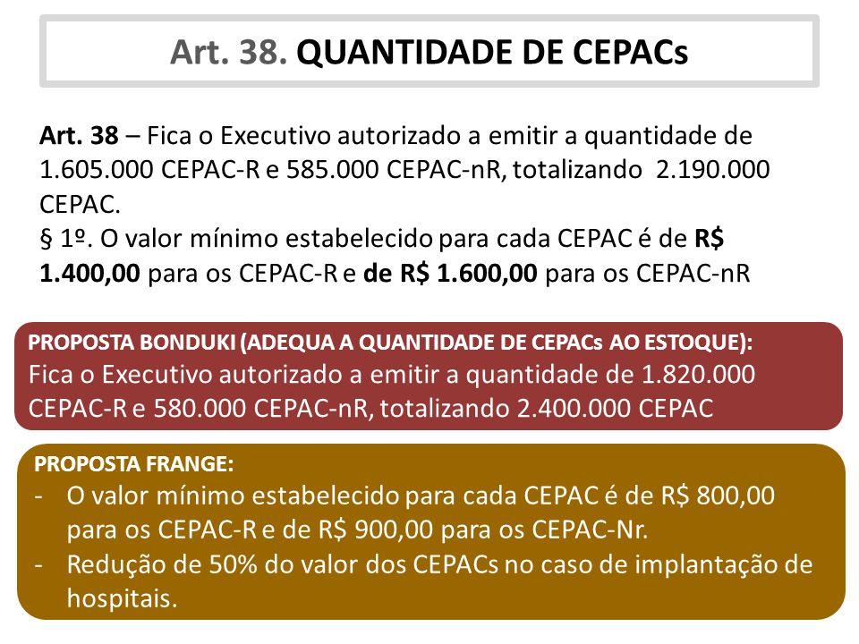 Art. 38. QUANTIDADE DE CEPACs Art. 38 – Fica o Executivo autorizado a emitir a quantidade de 1.605.000 CEPAC-R e 585.000 CEPAC-nR, totalizando 2.190.0