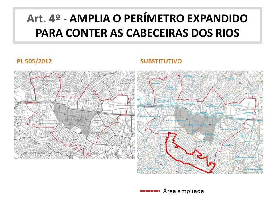 Art. 4º - AMPLIA O PERÍMETRO EXPANDIDO PARA CONTER AS CABECEIRAS DOS RIOS Área ampliada PL 505/2012SUBSTITUTIVO
