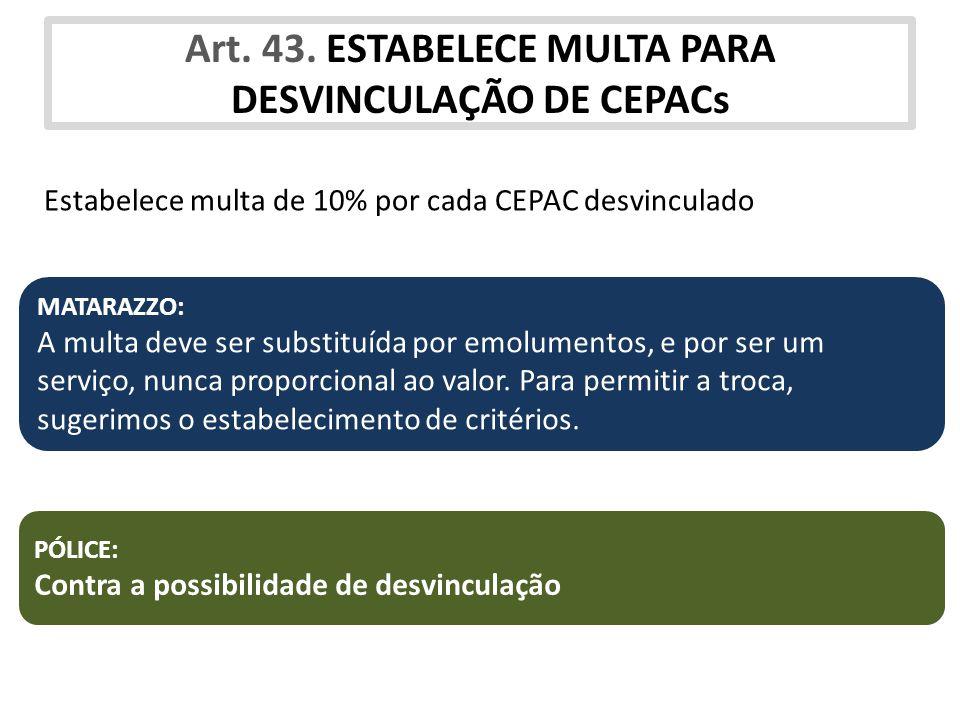 Art. 43. ESTABELECE MULTA PARA DESVINCULAÇÃO DE CEPACs Estabelece multa de 10% por cada CEPAC desvinculado PÓLICE: Contra a possibilidade de desvincul