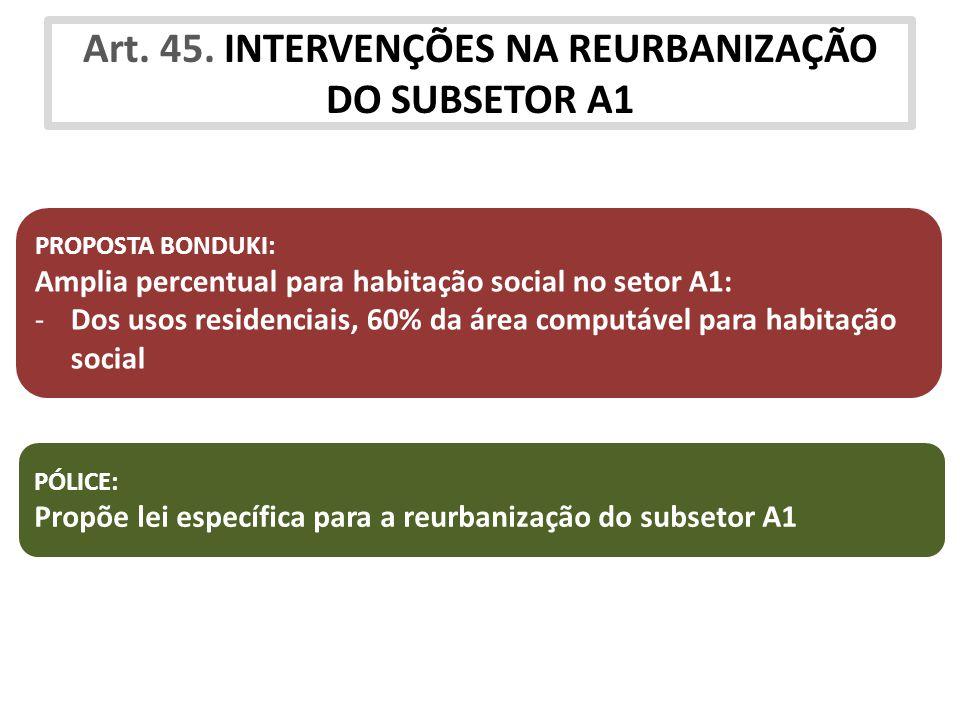 Art. 45. INTERVENÇÕES NA REURBANIZAÇÃO DO SUBSETOR A1 PROPOSTA BONDUKI: Amplia percentual para habitação social no setor A1: -Dos usos residenciais, 6