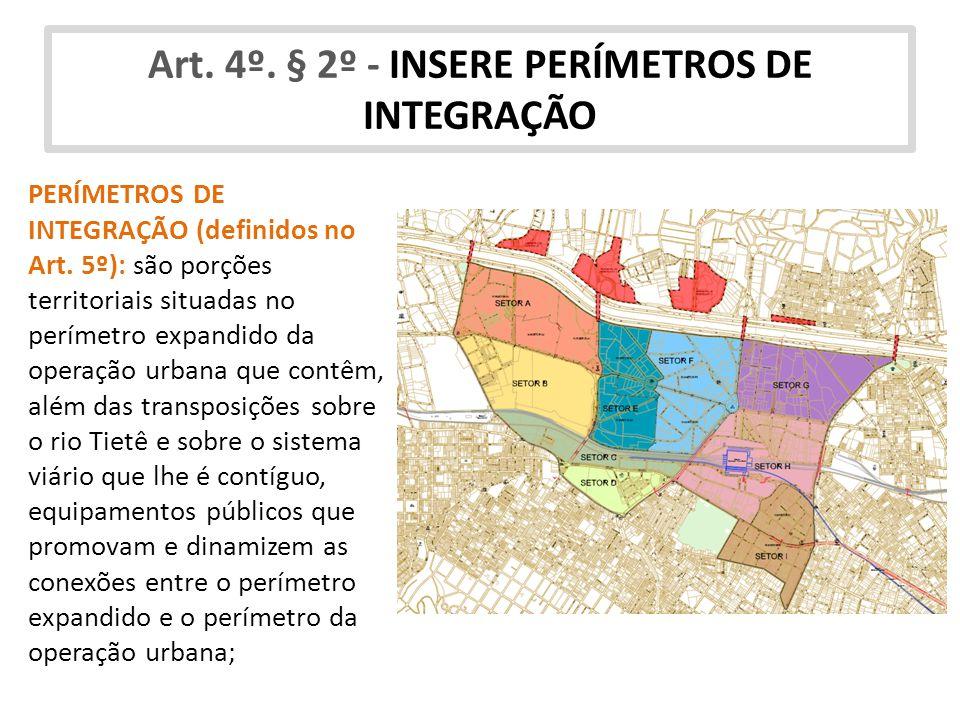 Art. 4º. § 2º - INSERE PERÍMETROS DE INTEGRAÇÃO PERÍMETROS DE INTEGRAÇÃO (definidos no Art. 5º): são porções territoriais situadas no perímetro expand