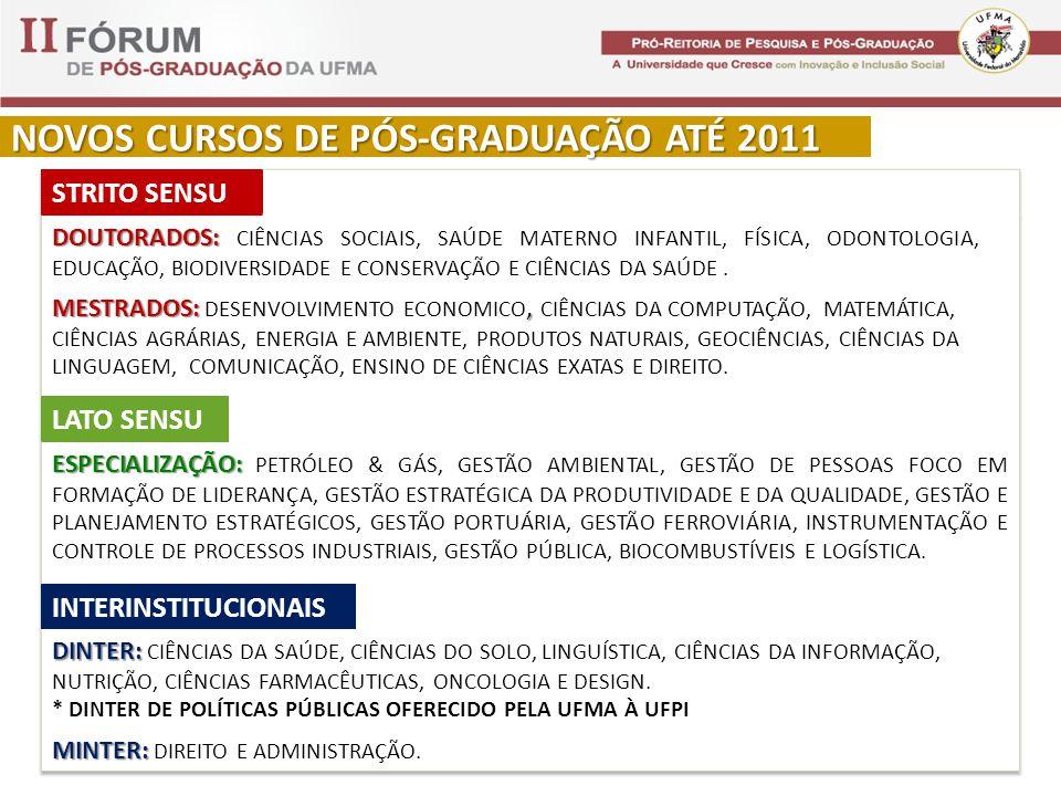 NOVOS CURSOS DE PÓS-GRADUAÇÃO ATÉ 2011