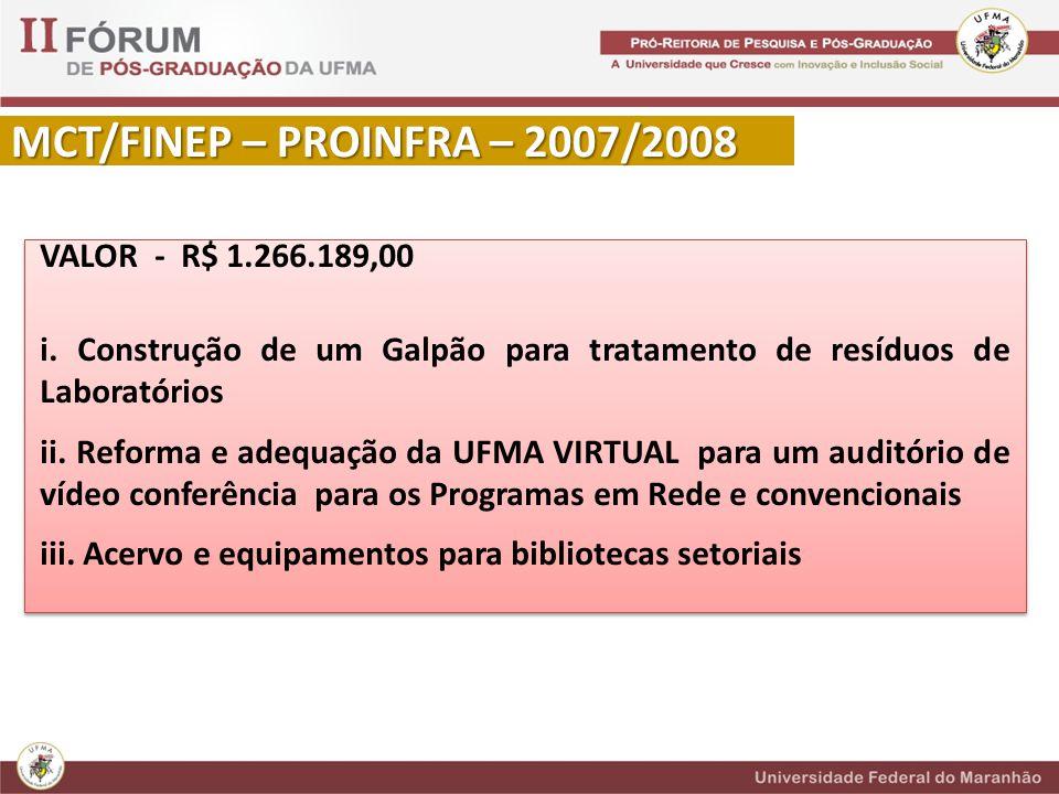 MCT/FINEP – PROINFRA – 2007/2008 VALOR - R$ 1.266.189,00 i.