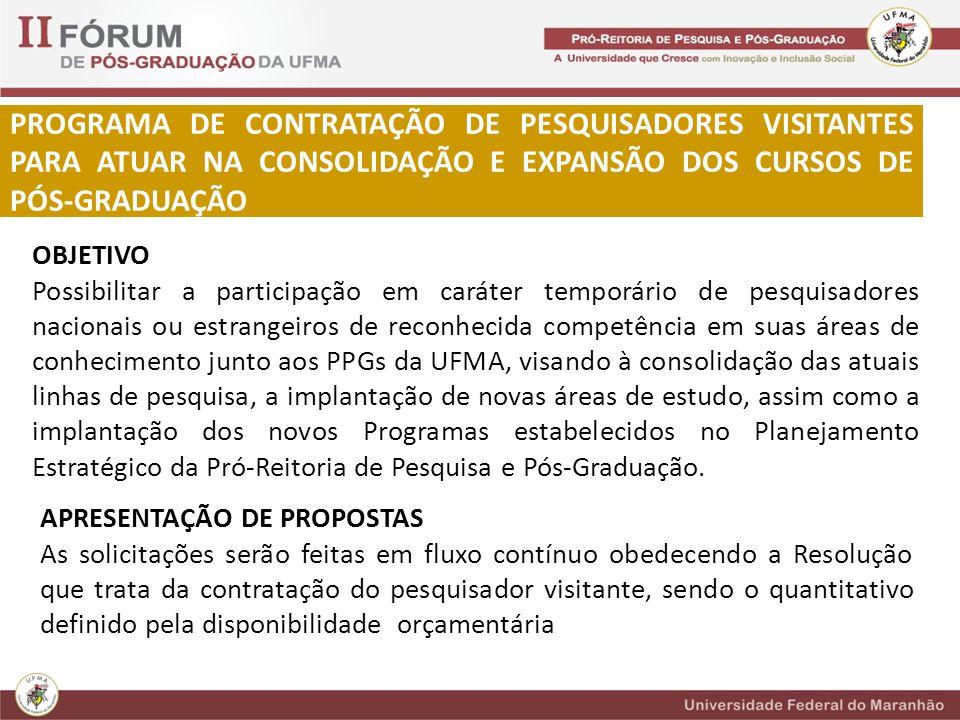 PROGRAMA DE CONTRATAÇÃO DE PESQUISADORES VISITANTES PARA ATUAR NA CONSOLIDAÇÃO E EXPANSÃO DOS CURSOS DE PÓS-GRADUAÇÃO OBJETIVO Possibilitar a participação em caráter temporário de pesquisadores nacionais ou estrangeiros de reconhecida competência em suas áreas de conhecimento junto aos PPGs da UFMA, visando à consolidação das atuais linhas de pesquisa, a implantação de novas áreas de estudo, assim como a implantação dos novos Programas estabelecidos no Planejamento Estratégico da Pró-Reitoria de Pesquisa e Pós-Graduação.