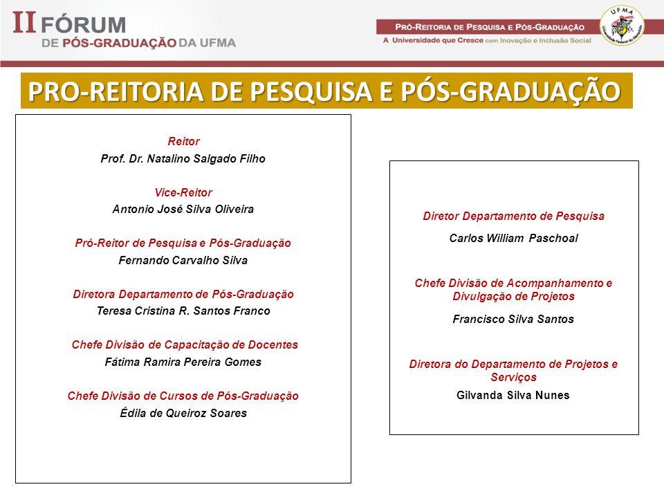 PRO-REITORIA DE PESQUISA E PÓS-GRADUAÇÃO Reitor Prof.