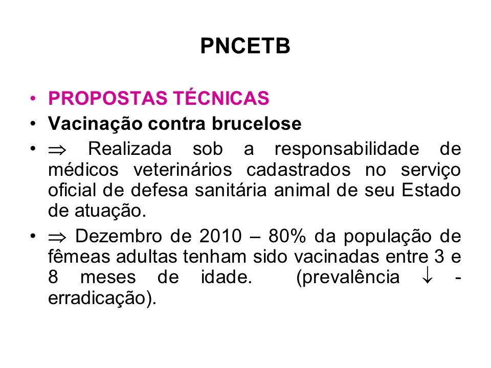 PNCETB •PROPOSTAS TÉCNICAS •Vacinação contra brucelose •  Realizada sob a responsabilidade de médicos veterinários cadastrados no serviço oficial de defesa sanitária animal de seu Estado de atuação.