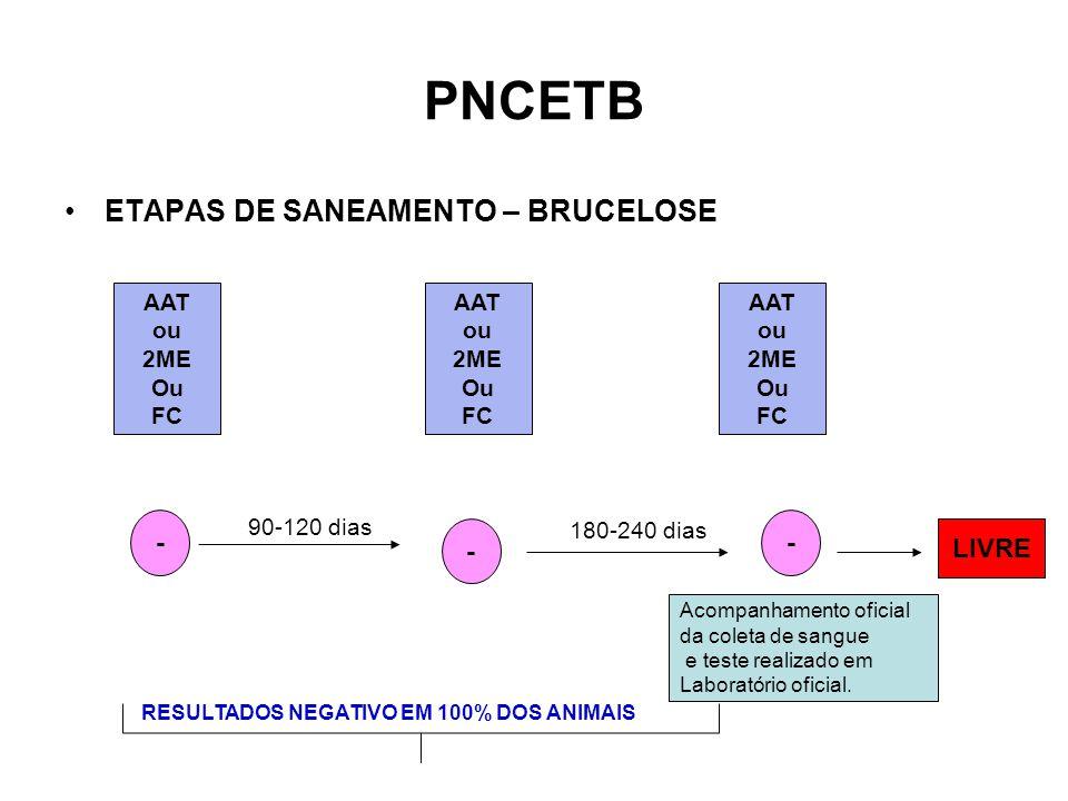 PNCETB •ETAPAS DE SANEAMENTO – BRUCELOSE AAT ou 2ME Ou FC AAT ou 2ME Ou FC AAT ou 2ME Ou FC - - - 90-120 dias 180-240 dias LIVRE Acompanhamento oficial da coleta de sangue e teste realizado em Laboratório oficial.