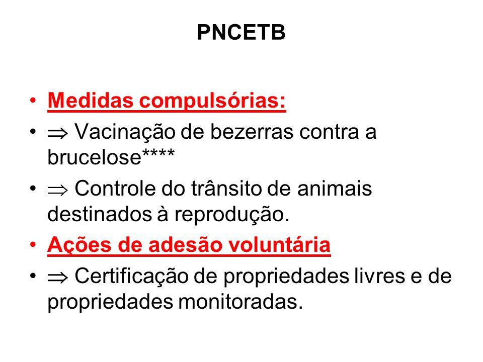 PNCETB •Medidas compulsórias: •  Vacinação de bezerras contra a brucelose**** •  Controle do trânsito de animais destinados à reprodução. •Ações de