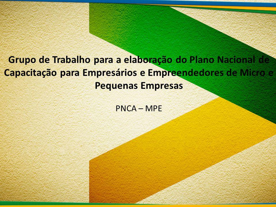 Grupo de Trabalho para a elaboração do Plano Nacional de Capacitação para Empresários e Empreendedores de Micro e Pequenas Empresas PNCA – MPE
