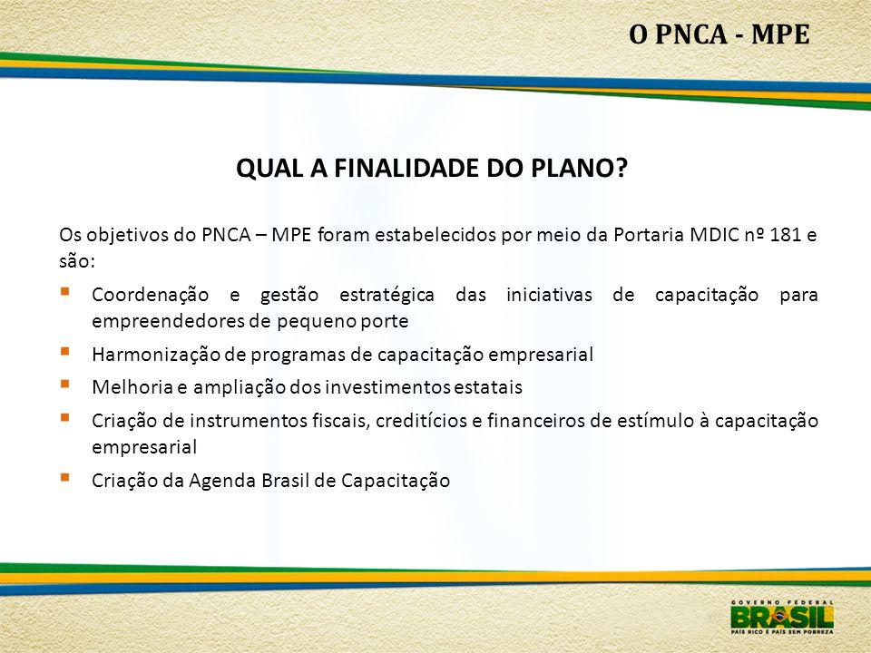 QUAL A FINALIDADE DO PLANO? O PNCA - MPE Os objetivos do PNCA – MPE foram estabelecidos por meio da Portaria MDIC nº 181 e são:  Coordenação e gestão
