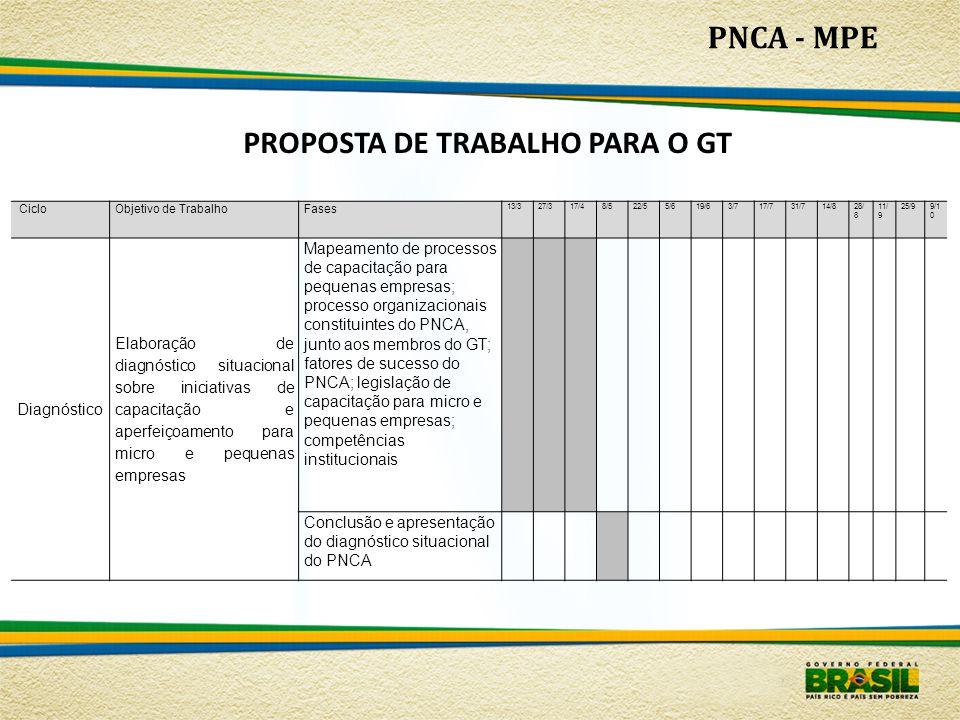 PNCA - MPE PROPOSTA DE TRABALHO PARA O GT CicloObjetivo de TrabalhoFases 13/327/317/48/522/55/619/63/717/731/714/828/ 8 11/ 9 25/99/1 0 Diagnóstico El