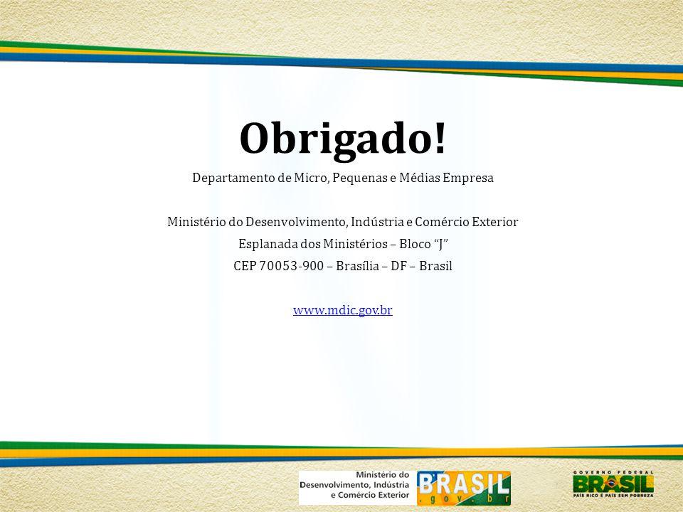 Obrigado! Departamento de Micro, Pequenas e Médias Empresa Ministério do Desenvolvimento, Indústria e Comércio Exterior Esplanada dos Ministérios – Bl