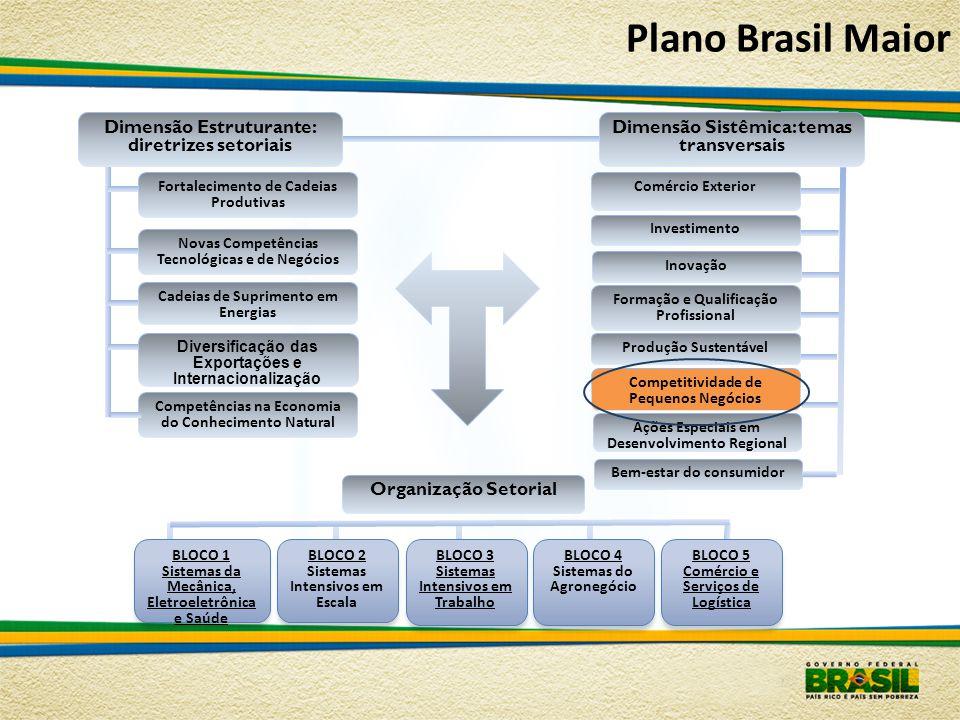Plano Brasil Maior Dimensão Sistêmica: temas transversais BLOCO 1 Sistemas da Mecânica, Eletroeletrônica e Saúde BLOCO 2 Sistemas Intensivos em Escala