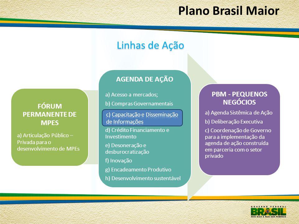 Linhasde Ação Linhas de Ação Plano Brasil Maior FÓRUM PERMANENTE DE MPES a) Articulação Público – Privada para o desenvolvimento de MPEs AGENDA DE AÇÃ