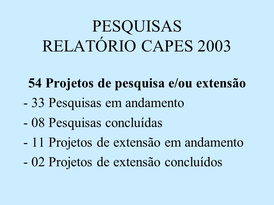 PESQUISAS RELATÓRIO CAPES 2003 54 Projetos de pesquisa e/ou extensão - 33 Pesquisas em andamento - 08 Pesquisas concluídas - 11 Projetos de extensão em andamento - 02 Projetos de extensão concluídos