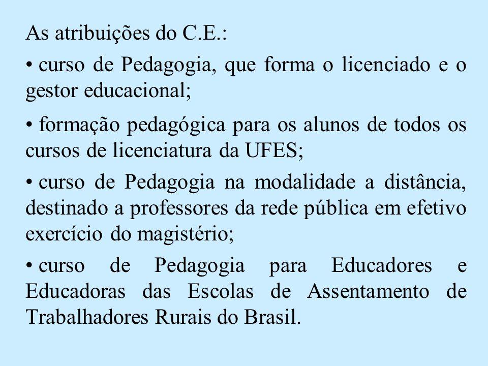As atribuições do C.E.: • curso de Pedagogia, que forma o licenciado e o gestor educacional; • formação pedagógica para os alunos de todos os cursos de licenciatura da UFES; • curso de Pedagogia na modalidade a distância, destinado a professores da rede pública em efetivo exercício do magistério; • curso de Pedagogia para Educadores e Educadoras das Escolas de Assentamento de Trabalhadores Rurais do Brasil.