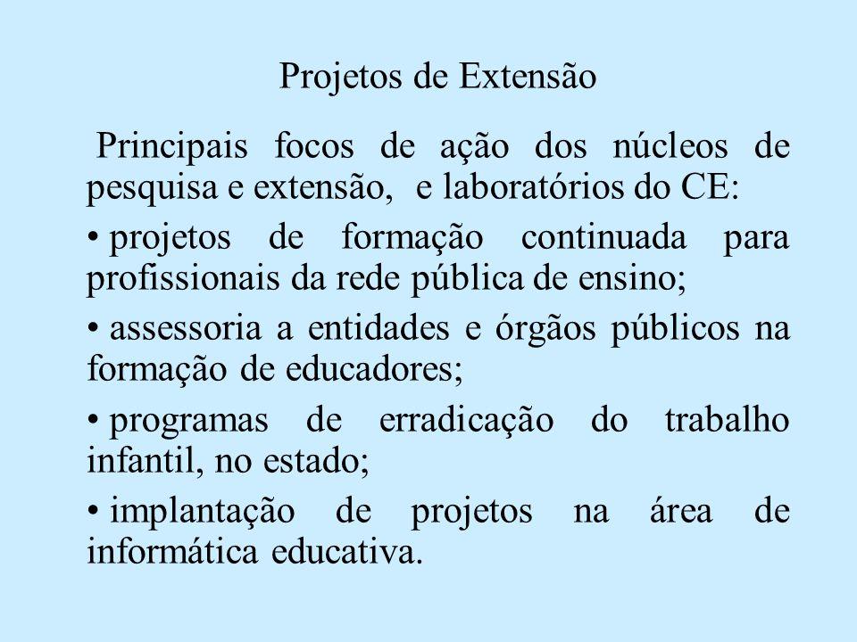 Projetos de Extensão Principais focos de ação dos núcleos de pesquisa e extensão, e laboratórios do CE: • projetos de formação continuada para profiss