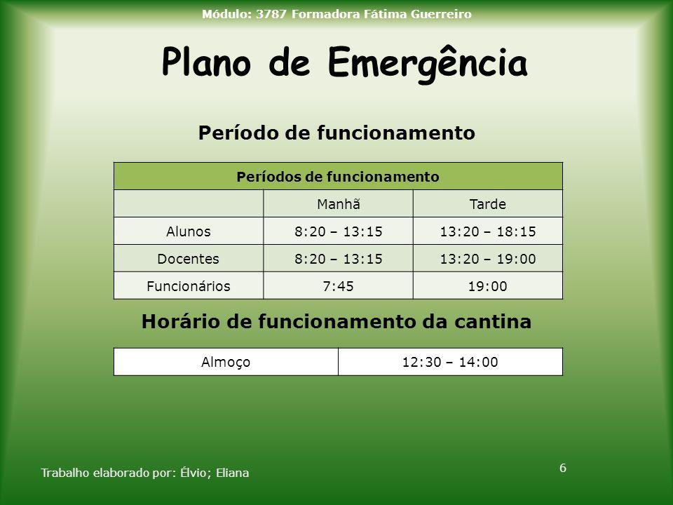 Plano de Emergência Período de funcionamento Horário de funcionamento da cantina Trabalho elaborado por: Élvio; Eliana 6 Módulo: 3787 Formadora Fátima