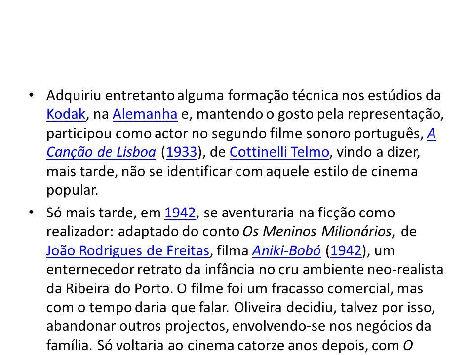 • Adquiriu entretanto alguma formação técnica nos estúdios da Kodak, na Alemanha e, mantendo o gosto pela representação, participou como actor no segundo filme sonoro português, A Canção de Lisboa (1933), de Cottinelli Telmo, vindo a dizer, mais tarde, não se identificar com aquele estilo de cinema popular.