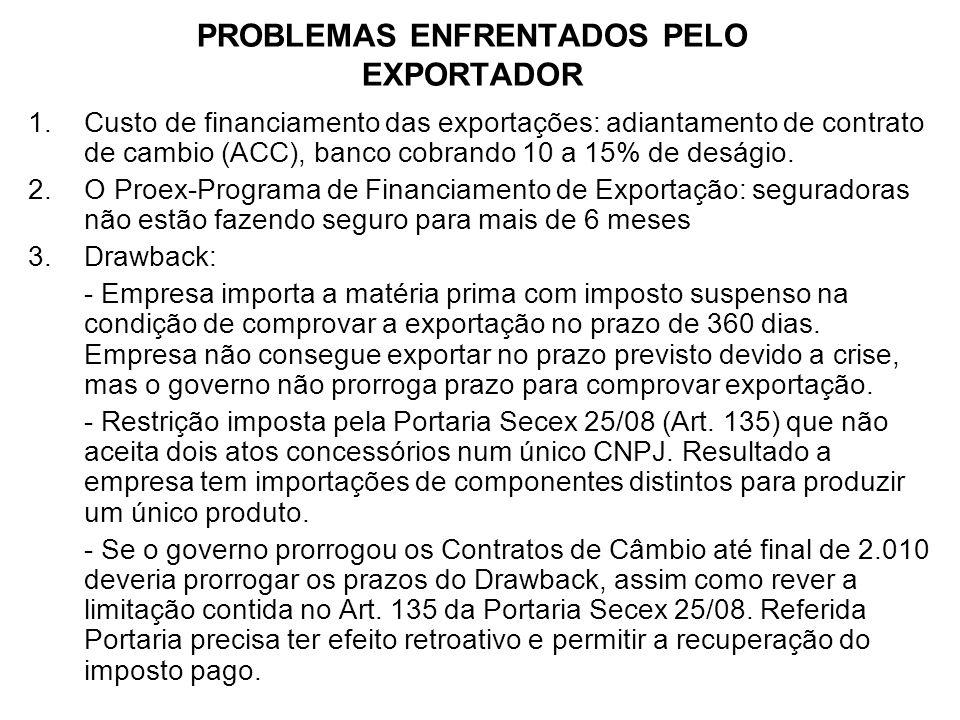 PROBLEMAS ENFRENTADOS PELO EXPORTADOR 1.Custo de financiamento das exportações: adiantamento de contrato de cambio (ACC), banco cobrando 10 a 15% de d