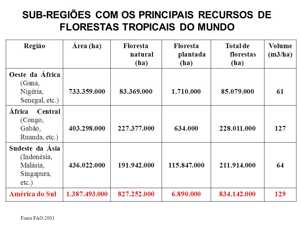FLORESTA TROPICAL NA AMÉRICA DO SUL 1 – Bolívia 2 – Brasil 3 – Colômbia 4 – Equador 5 – Guiana Francesa 6 – Guiana 7 – Paraguai 8 – Peru 9 – Suriname 10 - Venezuela