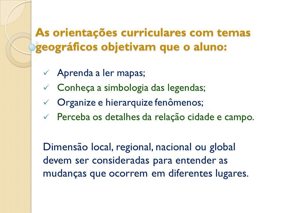 As orientações curriculares com temas geográficos objetivam que o aluno:  Aprenda a ler mapas;  Conheça a simbologia das legendas;  Organize e hierarquize fenômenos;  Perceba os detalhes da relação cidade e campo.